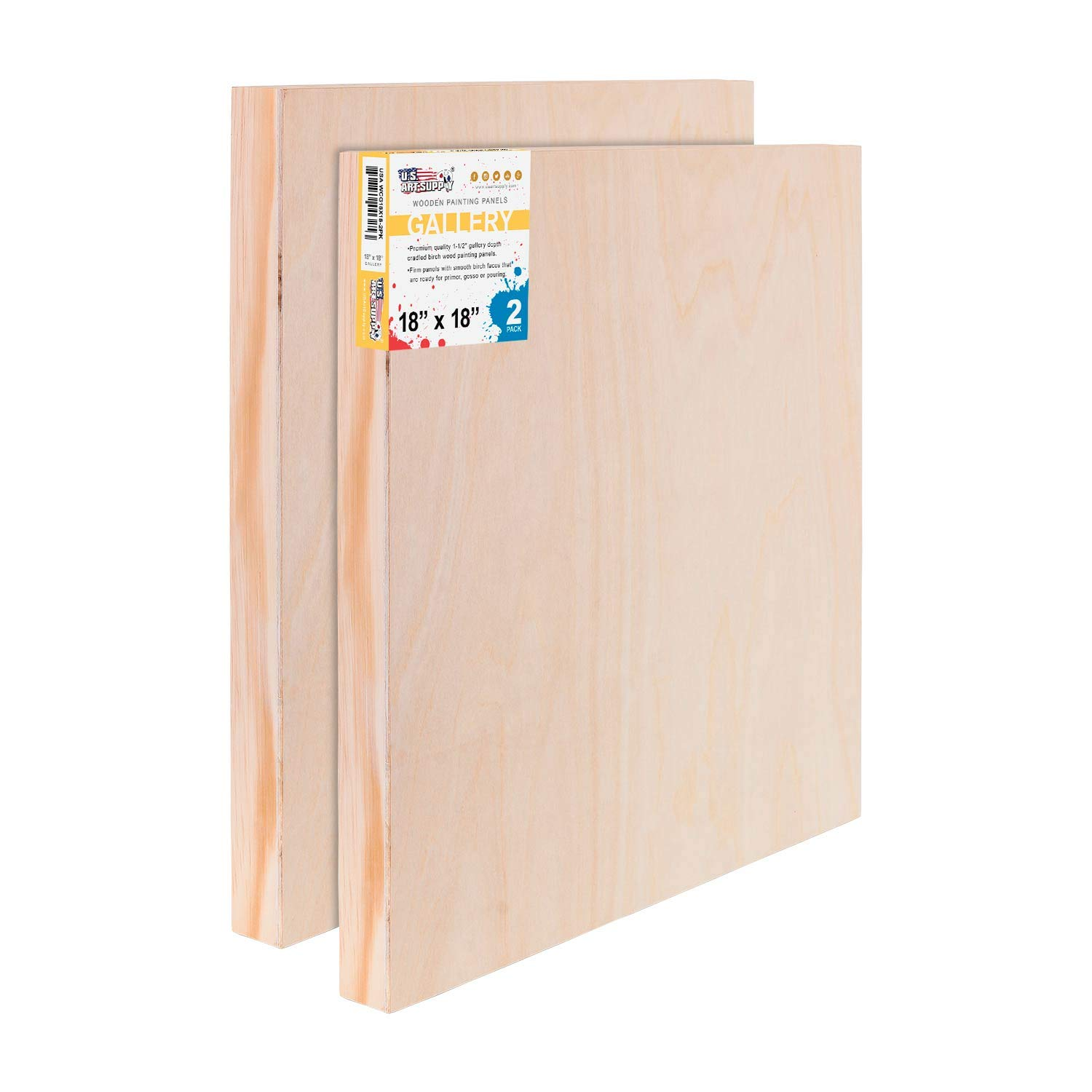 U.S. Art Supply 18'' x 18'' Birch Wood Paint Pouring Panel Boards, Gallery 1-1/2'' Deep Cradle (Pack of 2) - Artist Depth Wooden Wall Canvases - Painting Mixed-Media Craft, Acrylic, Oil, Encaustic