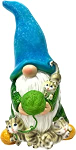 FLJZCZM Garden Gnome Statue, Solar Light Patio Decor Gnomes Play with Cats Resin Yard Dwarf Figurine Outdoor Ornaments, Gifts Powered LED Lights