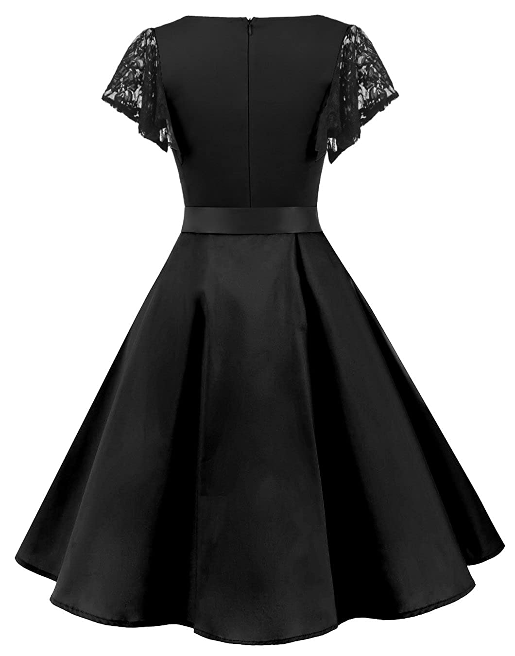 a104771859f Amazon.com  BeryLove Women s Vintage 50s Lace Sleeves Retro Rockabilly Swing  Coaktail Party Dresses  Clothing