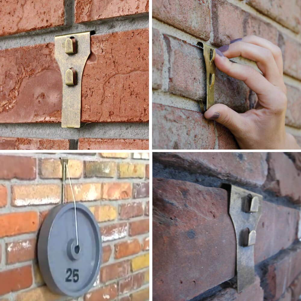 Brick Clips for Hanging, Wall Pictures Wreath Lights Hanger Metal Hooks  Fastener 5 Pack - Fits Brick 2-1/4 inch to 2-1/2 inch in Height