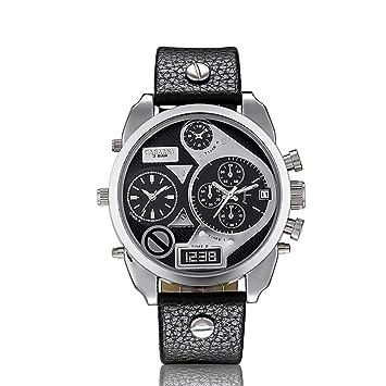 XXFFH Reloj Casual Digital Mecánica Solar Diámetro Redondo De Los Hombres 50Mm Mesa Grande Doble Zona Horaria Impermeable Reloj De Cuarzo De Calendario De ...