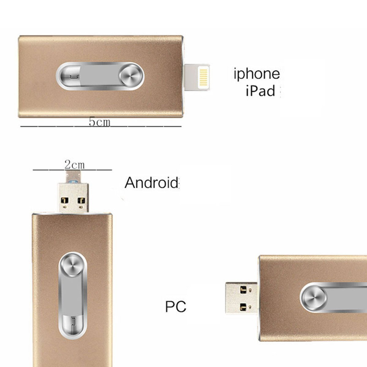 128GB iPhone USB Flash Drive, iOS Memory Stick, iPad External Storage Expansion for iOS Android PC Laptops (Gold)