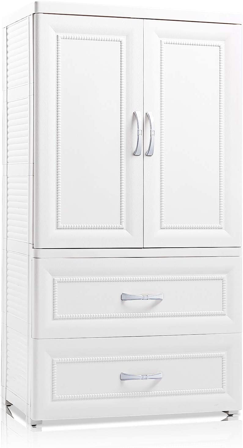 Nafenai Small Armoire Wardrobe Closet With Hanging Rod 2 Drawer Plastic Storage Cabinet Organizer Unit For Kid S Playroom Nursery Room Bedroom Hallway Office White Kitchen Dining Cjp Org In