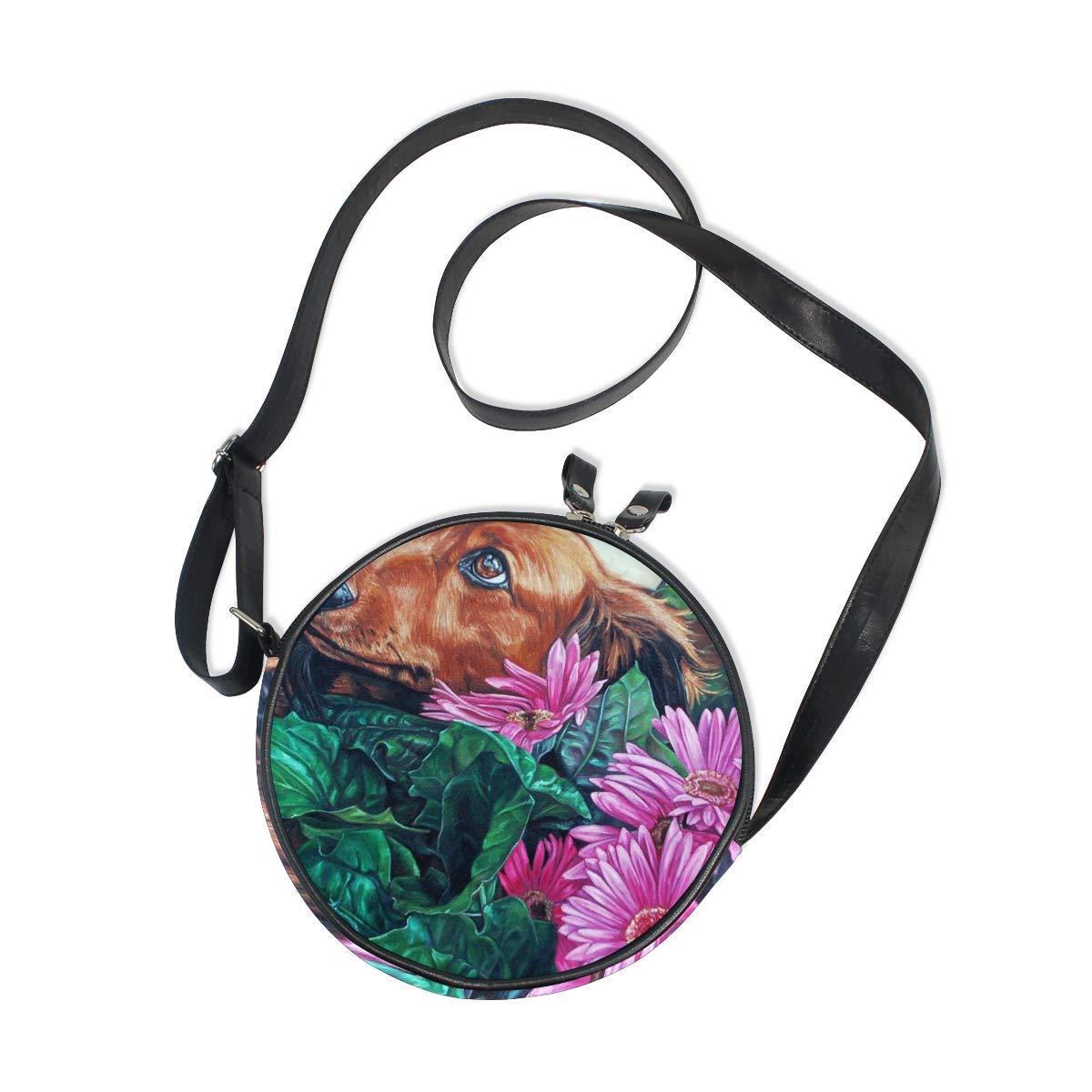 KEAKIA Garden Dog Flower Round Crossbody Bag Shoulder Sling Bag Handbag Purse Satchel Shoulder Bag for Kids Women