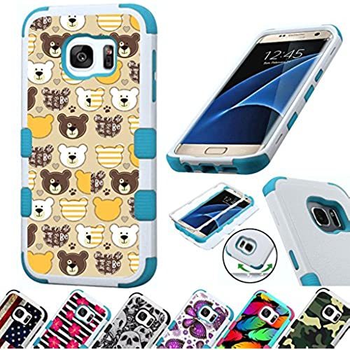 For Samsung Galaxy S7 Edge G935 Case 3-Layer Armor Hybrid Rugged Silicone Phone Cover FancyGuard (Teddy Bears/Teal) Sales