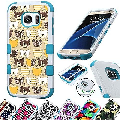For Samsung Galaxy S7 Edge G935 Case 3-Layer Armor Hybrid Rugged Silicone Phone Cover FancyGuard (Teddy Bears/Teal) Sales