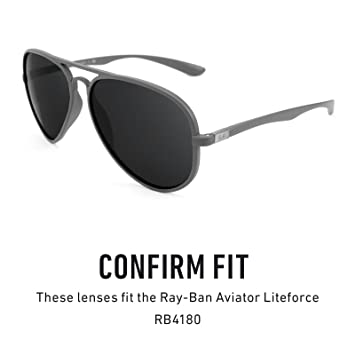 5d24c15086 Revant Polarized Replacement Lenses for Ray Ban Aviator Liteforce RB4180 Black  Chrome MirrorShield at Amazon Men s Clothing store