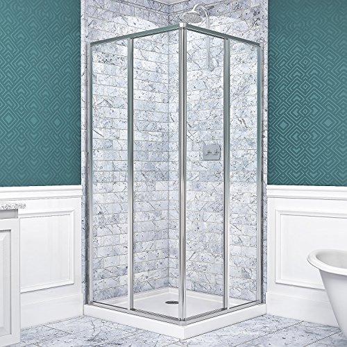 Side Panel Shower Enclosure - DreamLine Cornerview 36 in. x 36 in. Framed Sliding Shower Enclosure in Chrome with White Acrylic Base Kit, DL-6710-01