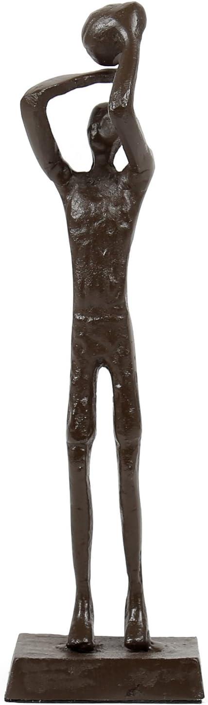 era85 Decorative Antique Iron Basketball Player Bronze-Look Home Décor Sculpture, 5.75 x 6.75 x 1.25 inches, Dark Brown