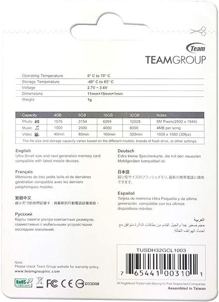 Amazon.com: Team 32GB Micro SDHC - Class 10 - SD 2.0/3.0