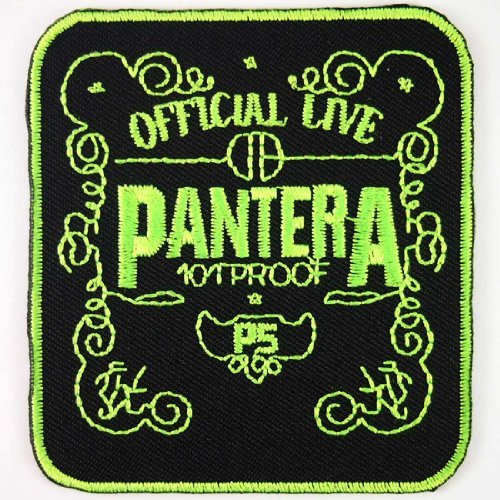Pantera Green on Black hardcore heavy metal punk rock band Iron On Patches # WITH FREE GIFT