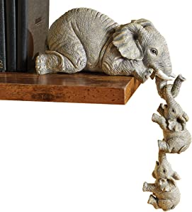 Collections Etc Elephant Sitter Hand-Painted Figurines - Set of 3, Mother and Two Babies Hanging Off The Edge of a Shelf or Table