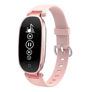 SODIAL Reloj Inteligente Bluetooth Pulsera Deportiva Pulsera de Mujer con Monitor de frecuencia Cardiaca Despertador Podometro Rastreador de Ejercicios: Oro ...