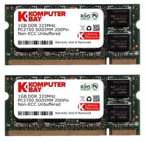 KOMPUTERBAY 2GB (2x1GB) DDR SODIMM (200 pin) 333Mhz DDR333 PC2700 LAPTOP MEMORY