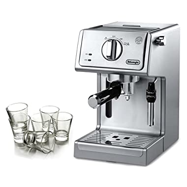 DeLonghi Stainless Steel 15 Bar Pump Combination Espresso and Cappuccino Machine with Free Set of 6 Italian Espresso Shot Glasses