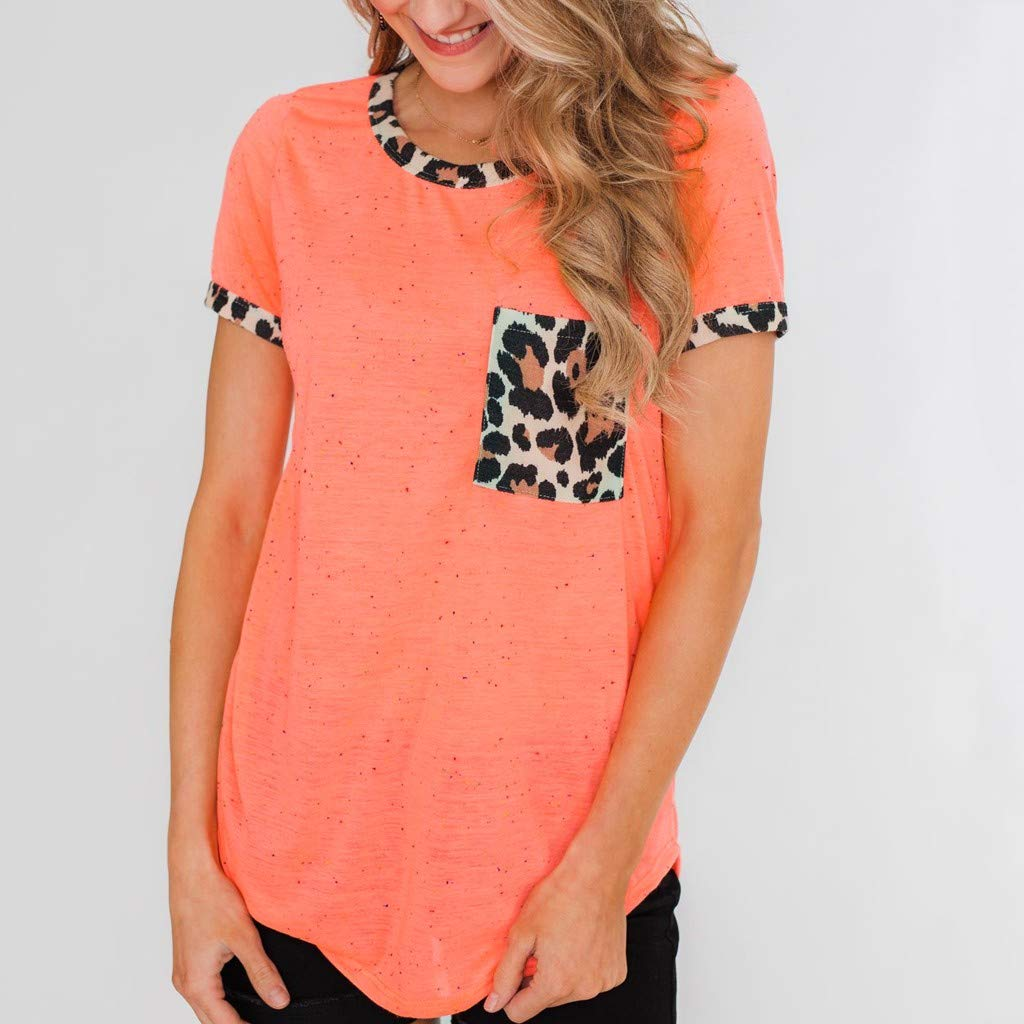 Womens Short Sleeve Tee - On Sale Fashion Pocket Leopard Dot Print Summer Casual Loose Breathable Blouse Top by Dacawin-Women Tops (Image #2)