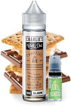 E Liquid Charlies Chalk Dust Campfire 50ml - 70vg 30pg - booster shortfill + E Liquid The Boat 10 ml lima limón ...