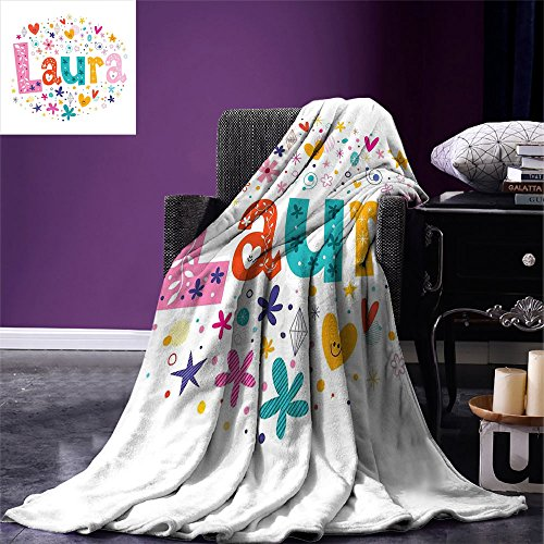 smallbeefly Laura Throw Blanket Baby Girl Name with Vintage Doodle Style Flowers and Stars Colorful Illustration Warm Microfiber All Season Blanket for Bed or Couch Multicolor ()