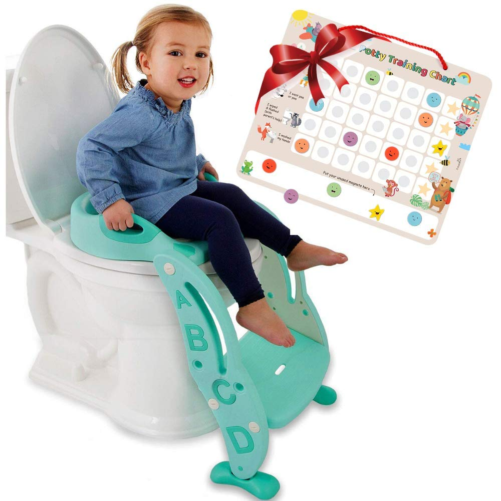 Potty Training Seat Unisex Kids &Toddler Toilet - Foldable Adjustable Ladder Anti-Slip Step w/Safety Handles - Fits Toilets 14-16.1 High. Bonuses: Soft Cushion Seat - Potty Training Chart