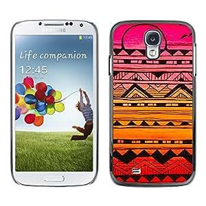 X-ray Impreso colorido protector duro espalda Funda piel de Shell para SAMSUNG Galaxy S4 IV / i9500 / i9515 / i9505G / SGH-i337 - Handmade Sunset Drawing Ink Pink