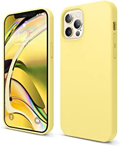 elago Liquid Silicone Case Compatible with iPhone 12 and Compatible with iPhone 12 Pro 6.1 Inch (Yellow) - Full Body Protection (Screen & Camera Protection)