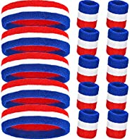 Bememo 6 Pieces Striped Sweatbands Set, Includes 2 Pieces Sports Headband and 4 Pieces Wristbands Sweatbands C