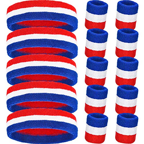 15 Pieces Striped Sweatbands Set, Includes 5 Pieces Sports Headband and 10 Pieces Wristbands Sweatbands Colorful Cotton Striped Sweatband Set for Men and Women(Red White and Blue Set 5, 15 Pieces