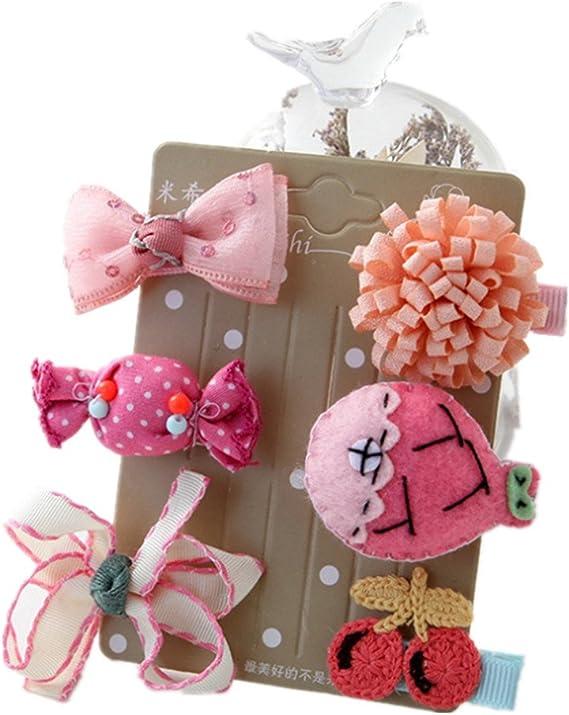 Freessom Kit de 5pcs Pince Cheveux Bebe Enfant Fille Noeud Papillon Etoile Fleur Animaux Bec de Canard Princesse Barrette Chouchou Chic Clips