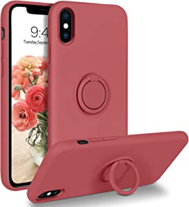 DOMAVER iPhone X/XS Case 360° Ring Holder Kickstand (Support Car Mount) Silicone Soft Rubber Microfiber Lining Cushion Protective Cover for iPhone X/XS 5.8