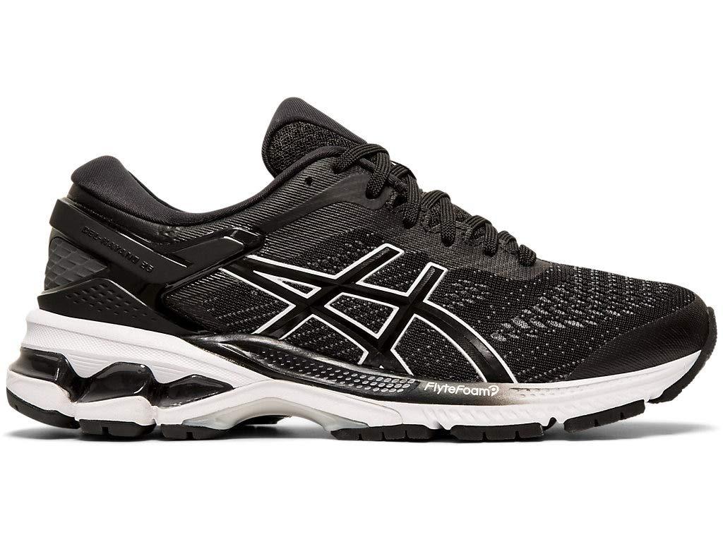 ASICS Women's Gel-Kayano 26 (D) Running Shoes 1012A457, 7.5M, Black/White