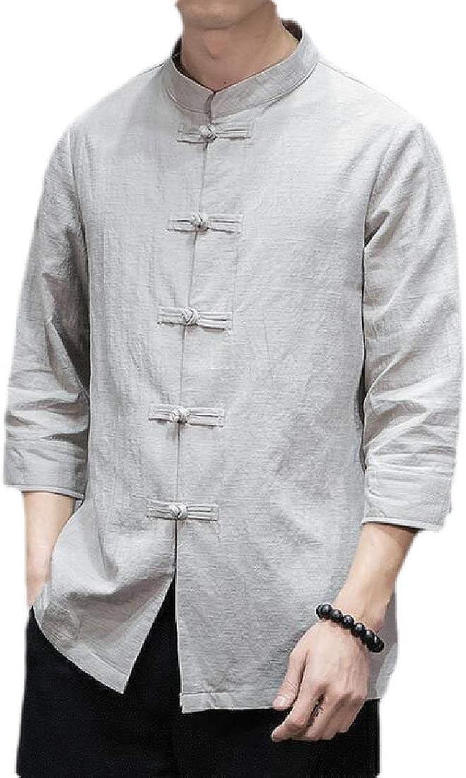 Men Fashion Casual Mandarin Collar 3//4 Sleeve Cotton Linen Frog-Button Shirts