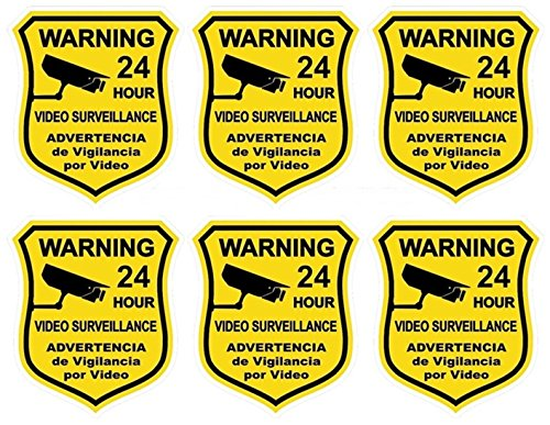 Vinyl 24 Computer Hr - 6 Pcs Hair-raising Unique Warning 24 Hour Video Surveillance Security Sticker Signs Business Camera Decal Being Watched Fence Property Doors Sign Hr Decals Under Cameras Protect Size 3.5