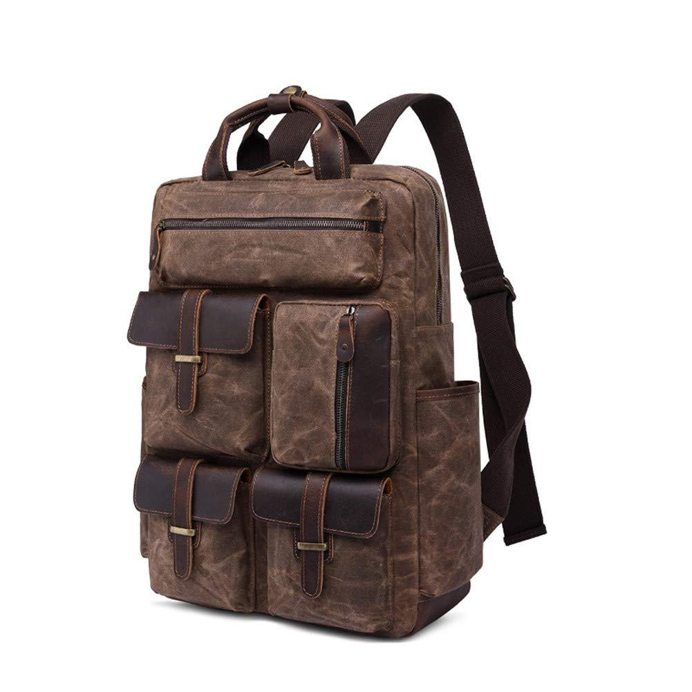 アウトドアキャンバスバックパック、旅行ハイキングキャンプ用リュックサックパック、レトロ大容量バッグ   B07HTXNH1X