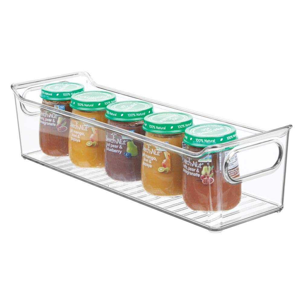 "mDesign Storage Organizer Container Bin with Handles for Kids/Child Supplies in Kitchen, Pantry, Nursery, Bedroom, Playroom - Holds Snacks, Bottles, Baby Food - BPA Free, 14"" Long - Clear"