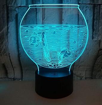 QKAW 3D LED Luz de noche Pecera Ilusión 3D Luces Nocturnas,LED ...