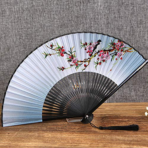 Longyuantai Folding Fan Chinese Style Women'S Fan Fan Chinese Fan Cherry Blossom And Wind Craft Antique Folding Small Fan Female Fan Gift To Send Foreign Girl Gifts@Bird Language Flower Pearl Handle A ()