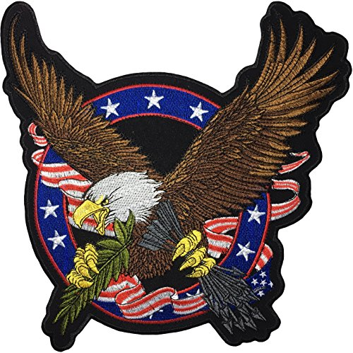 - [Large Size] Papapatch Bald Eagle Hawk Clutching Arrows Patriotic USA US America Flag Biker Jacket Vest Costume Sew on Iron on Embroidered Applique Patch (IRON-BALD-EAGLE-USA-FLAG-LARGE)
