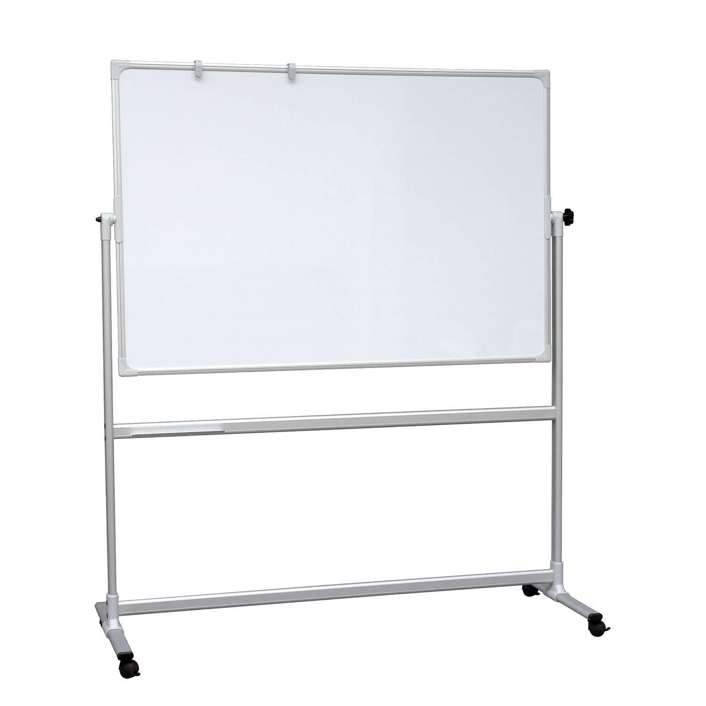 VISCOM Weißboard mobil, 200 x 100 cm, Doppelseitiges Magnetisch Weißboard Rollen, weitere Größen wählbar, Alurahmen