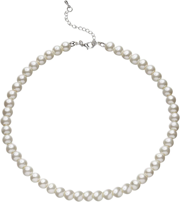 BABEYOND Collar Redondo de Perlas de Imitación de Perlas Collar de Perlas de Boda para Novias blanco (Diámetro de perla 8mm)