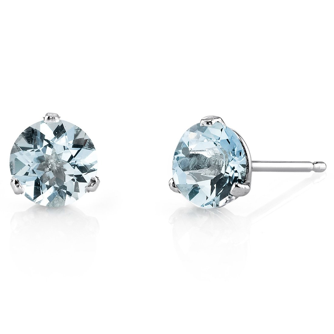 14 Kt White Gold Martini Style Round Cut 1.50 Carats Aquamarine Stud Earrings by Peora