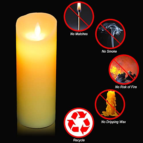 HIFROM Remote Control Flameless Candles Battery Operated LED Dancing Flame Candles Real Wax Pillar with 10-key Remote Control Light Wedding Party Decor 24-hour Timer 2pcs 8 Candle 10 Key RC