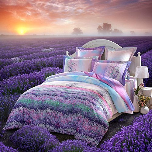 LOVO Fragrance of Provence Beautiful 100% Cotton 4-Piece Bedding Set 1x Duvet Cover, 1x Flat Sheet and 2x Pillow Covers Purple (Provence Queen Bed)