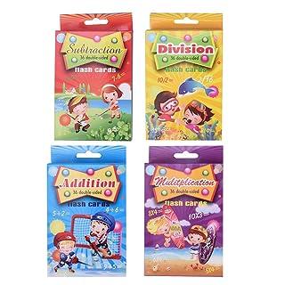 STOBOK Aggiunta di sottrazione e Divisione Flash Card per Bambini 4 Set