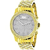 Two Tone White and Yellow Gold Plated Luxurman Raptor Men's Diamond Watch 025ct