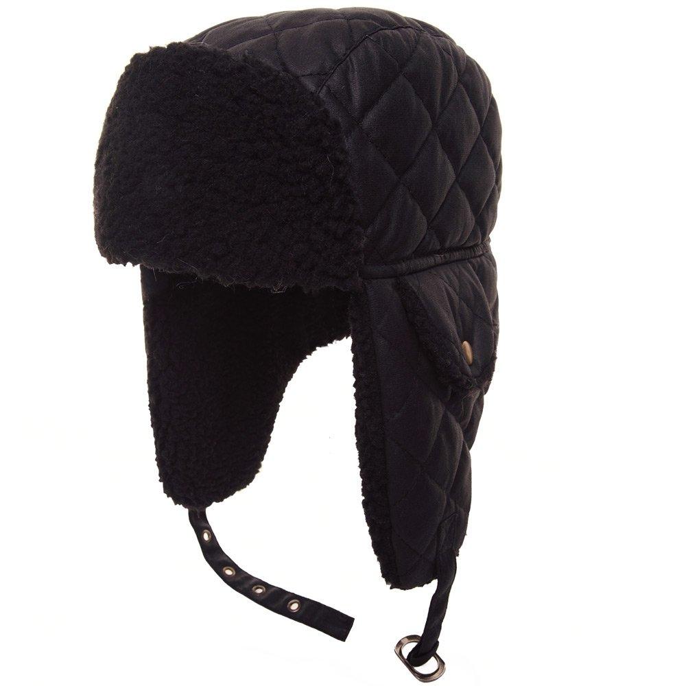 Adult Black Quilted Chunky Fleece Trim & Inner Ear Flaps Trapper Hat Women / Men SSP