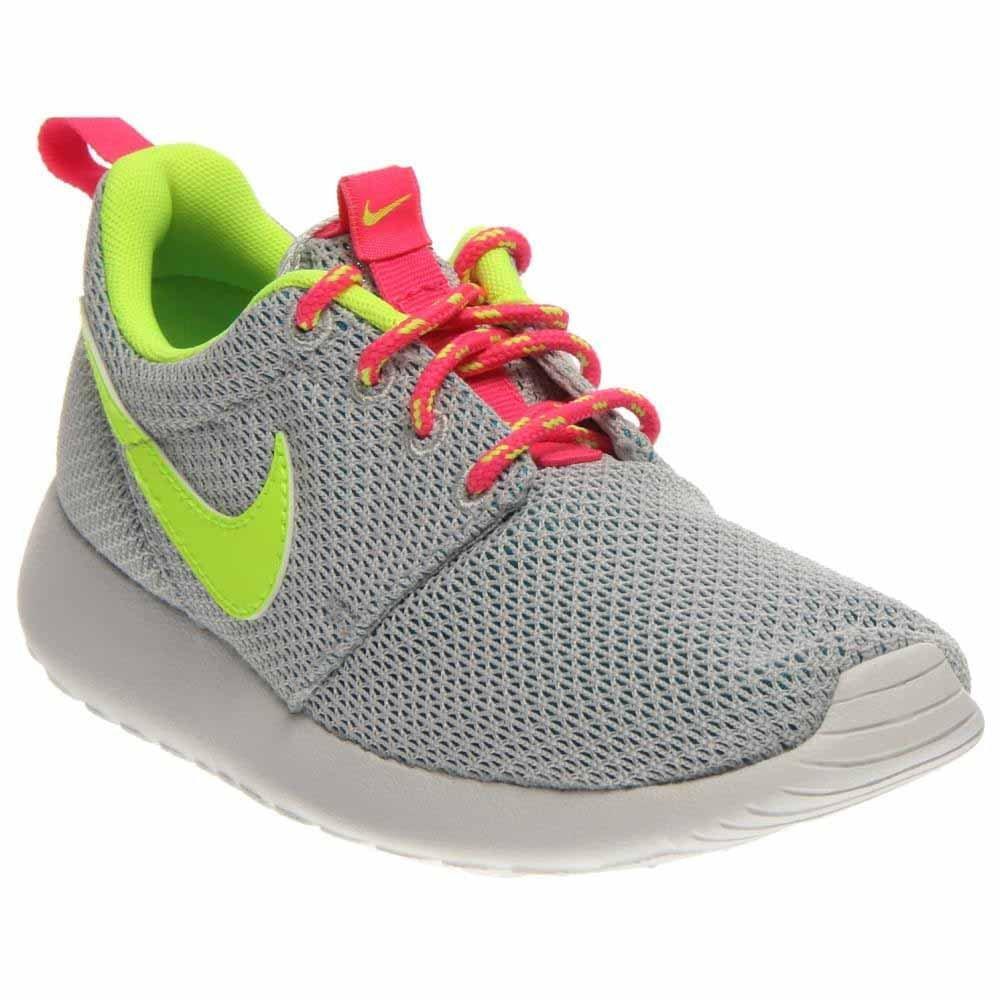 Nike Roshe Run 599729, Mauml;dchen Laufschuhe Training  32|Grau (Platinum/Volt-Pink-Blau Lagoon)