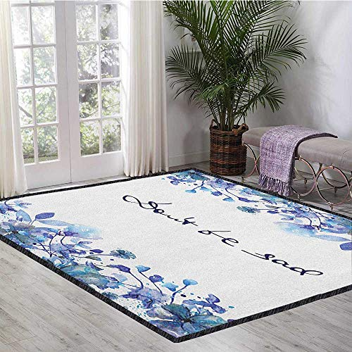 Watercolor Modern Abstract Floor Mat,Blue Flowers and Branches with Leaves Natural Imagery Fine Art Theme Add Fashion to Room's Decor Royal Blue Pale Blue 55
