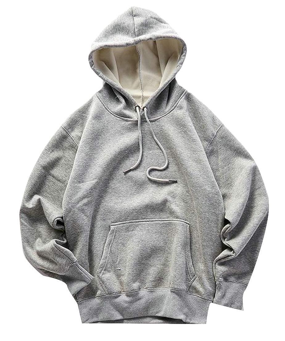 Hajotrawa Mens Retro Drawstring Long Sleeve Tops Hoodie Sweatshirts