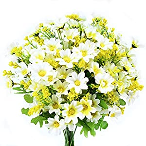 Turelifes 4pcs Artificial Flowers Bouquets Fake Mini Daisy Flower 7 Branches 28 Heads Silk Floral for Office Home Wedding Decoration (White) 108