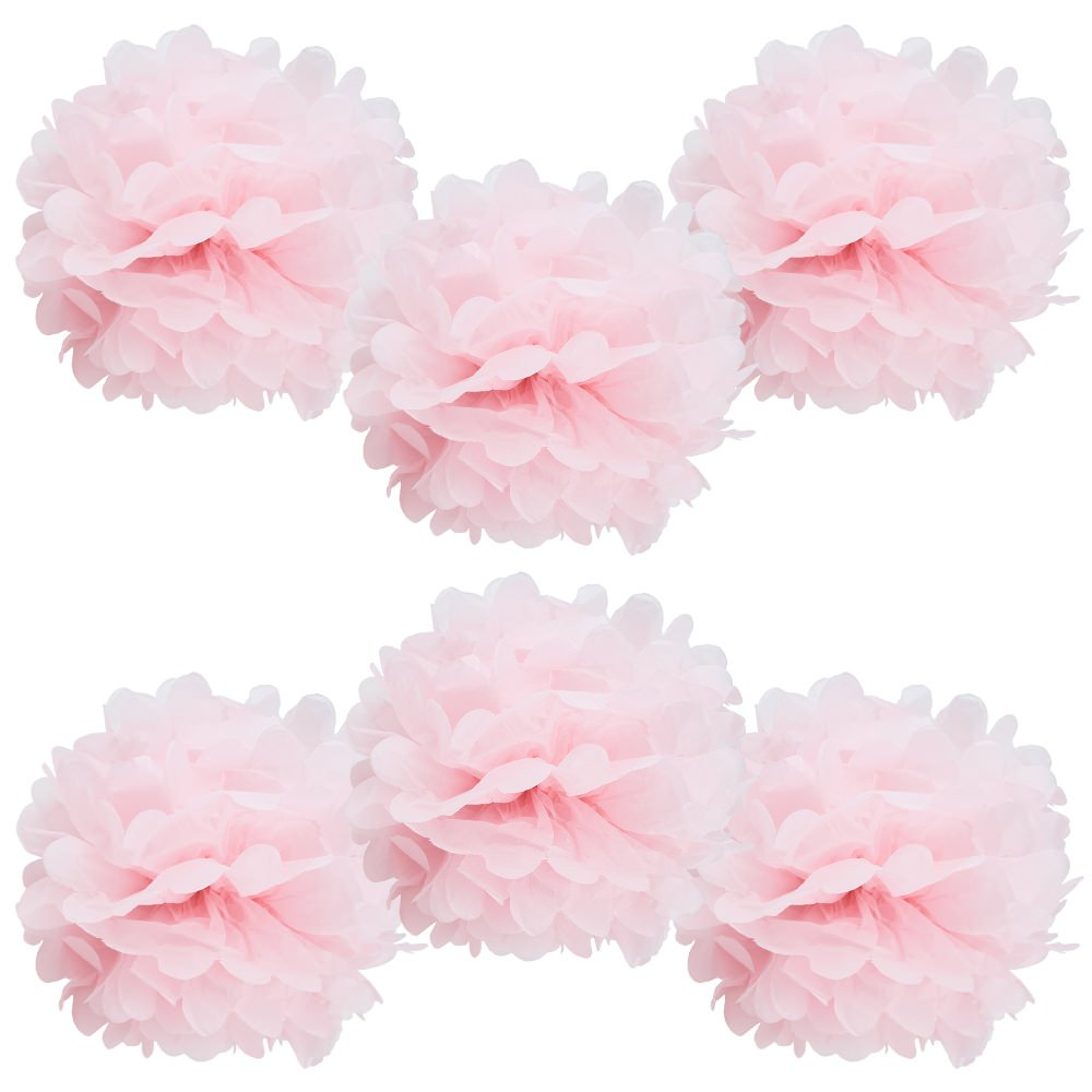 Set of 6 baby pink pom pom tissue poufs - Come discover Pretty Pink Christmas Decor Inspiration with holiday interiors as well as shopping resources. #pinkChristmas #holidaydecor #christmasdecorating
